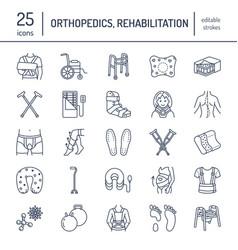 orthopedic trauma rehabilitation line icons vector image