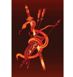snake sword and arrow vector image
