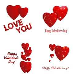 Valentines day Abstract paper hearts Love vector image vector image