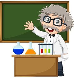 A scientist in front of the empty blackboard vector image