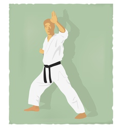 An old picture of men engaged in karate vector