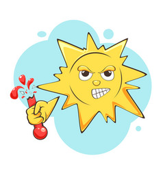 Angry sun in hot weather vector