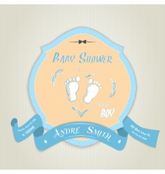 Baby shower invitation with baby feet vector image