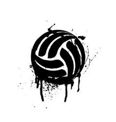 Black grunge volleyball vector