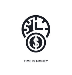 Black time is money isolated icon simple element vector