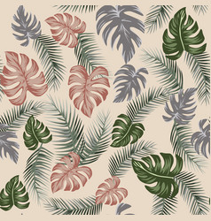 Botanical seamless pattern beige background vector