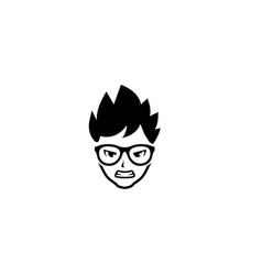 Boy with angry face glasses and hair style vector