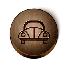 Brown line car volkswagen beetle icon isolated on vector