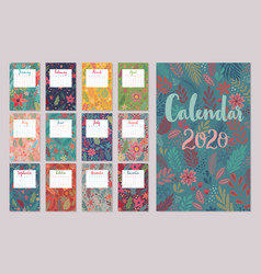 Calendar 2020 monthly with floral vector