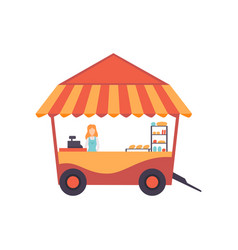 Cart with burgers and female seller street fast vector