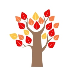 Cartoon Tree Red and Yellow Oak vector