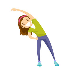 Caucasian girl doing stretching warm up exercise vector
