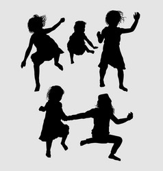 Children happy playing silhouette vector