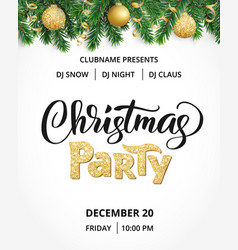 christmas party poster hand written lettering vector image