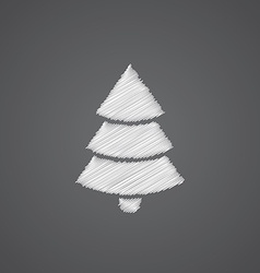 Christmas tree sketch logo doodle icon vector image