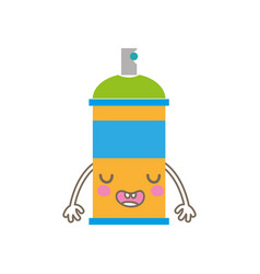 Colorful kawaii cue funny aerosol spray vector