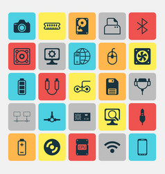 Computer icons set collection of hdd power vector