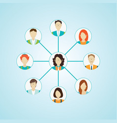 connecting people icons set isolated vector image