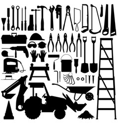 Construction tool silhouette a big set of vector