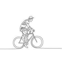 continuous one line drawing man in a cap riding a vector image