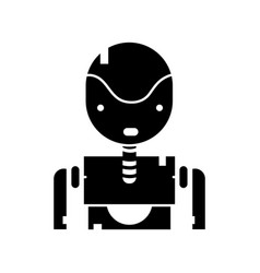 Contour tecnology robot face with chest design vector