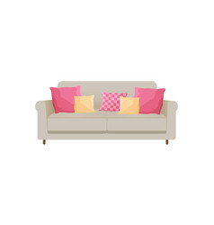 Cozy sofa with many cushions vector