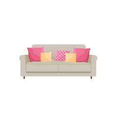 cozy sofa with many cushions vector image