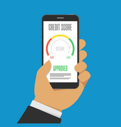 Credit score on smartphone screen vector