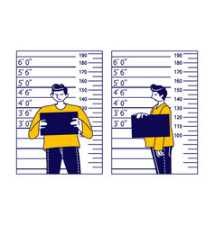 criminal male character stand on measuring scale vector image
