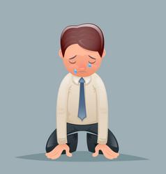 Cry tears vintage businessman despair suffer grief vector