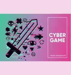cyber sword video game emblem with glitch vector image