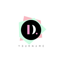 d geometric shapes logo design with pastel colors vector image