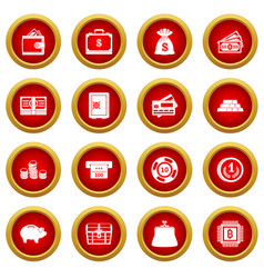 Different money icon red circle set vector