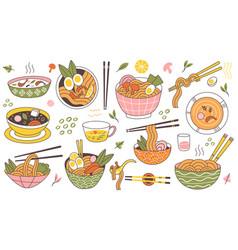 Doodle ramen noodles traditional asian food bowls vector