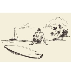 Drawn man sitting beach surfboard sketch vector