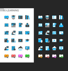 e-learning icons light and dark theme vector image