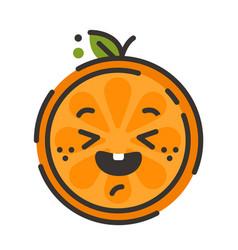 emoji - enjoy orange with happy smile isolated vector image
