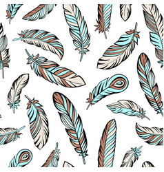 Ethnic bird feathers hand drawn seamless pattern vector