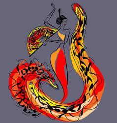 Figure of flamenco dancer vector