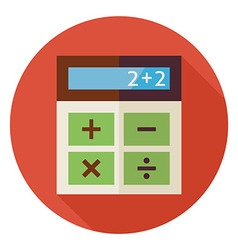 Flat Education and Maths Calculator Circle Icon vector