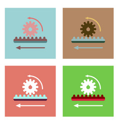 Flat icon design collection during gear vector