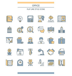Flat line design office icons vector