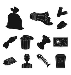 Garbage and waste black icons in set collection vector