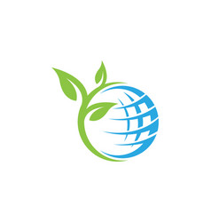 Global ecology nature logo template vector