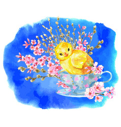 greeting card with cute chicken in cup vector image