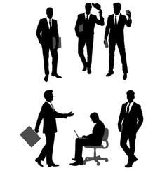 Group scene of businessmen silhouettes vector