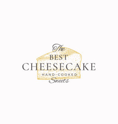 Hand-cooked cheesecake abstract sign symbol vector