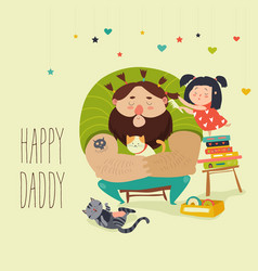 Happy daughter makes a hairdo for dad vector