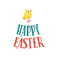 happy easter greeting card lettering and chicken vector image