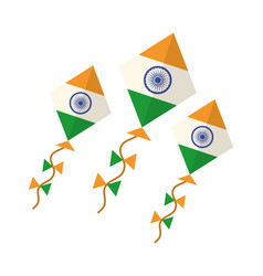 Happy independence day india kites with flag vector